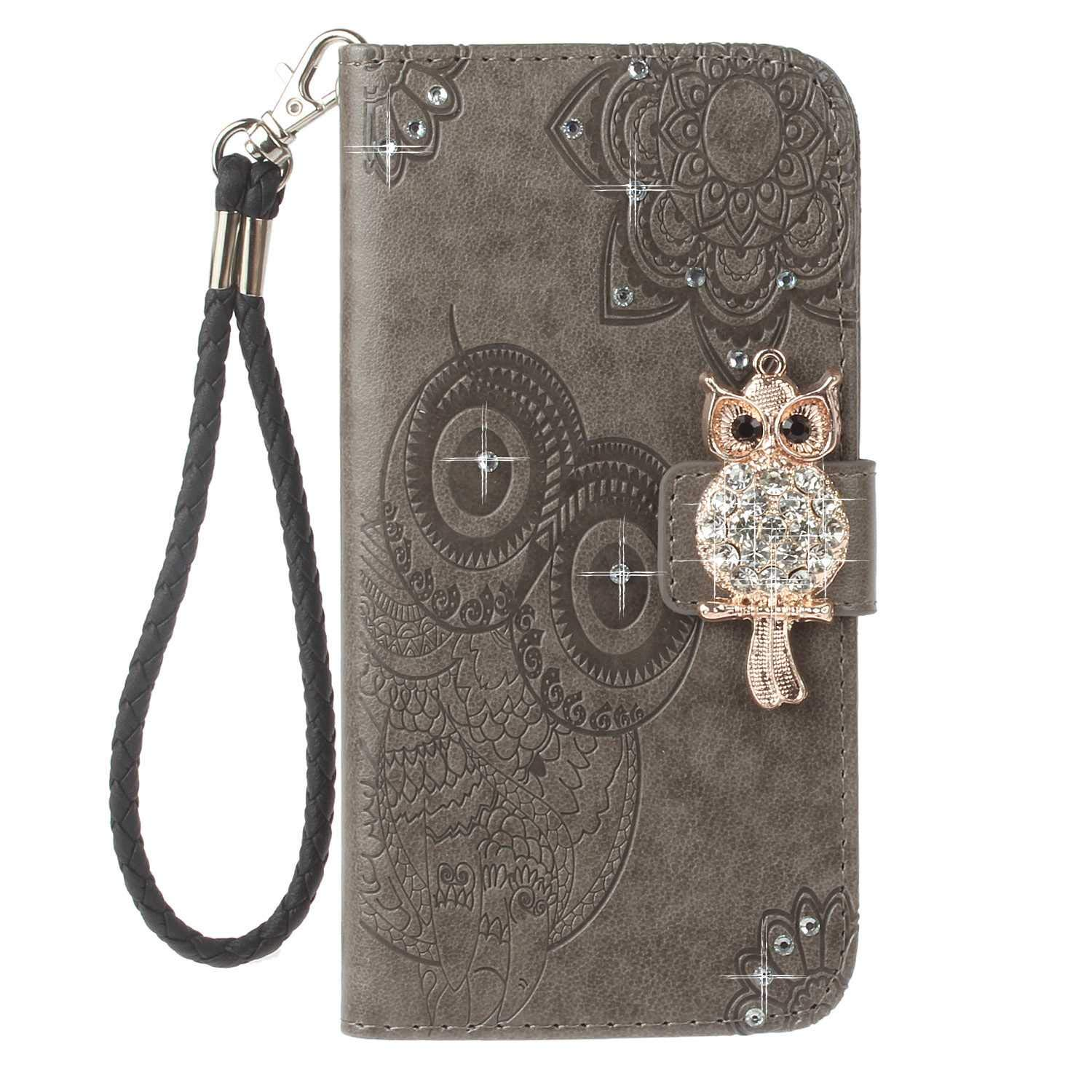 Bear Village Galaxy S9 Case, Leather Case with Wrist Strap and Credit Card Slot, Owl Magnetic Closure Shockproof Cover for Samsung Galaxy S9, Gray by Bear Village