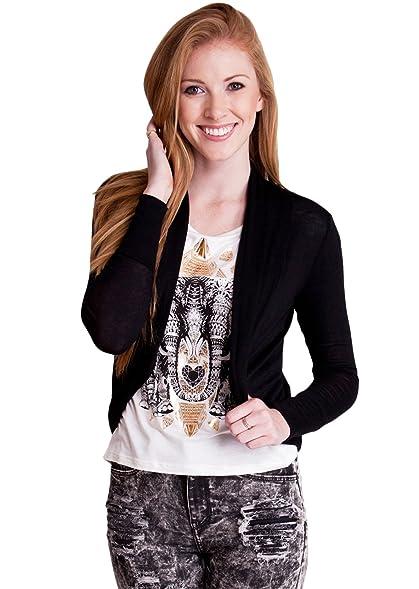 Black Ladies Long Sleeve Semi Sheer Cocoon Cardigan at Amazon ...