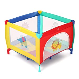 Baby Play Portable Playard Play Pen with Mattress Safety Baby Playard with Door Activity Center for Toddler Boys Girls Fun Time Indoor and Outdoor 39inch x 39inch (Colorful)