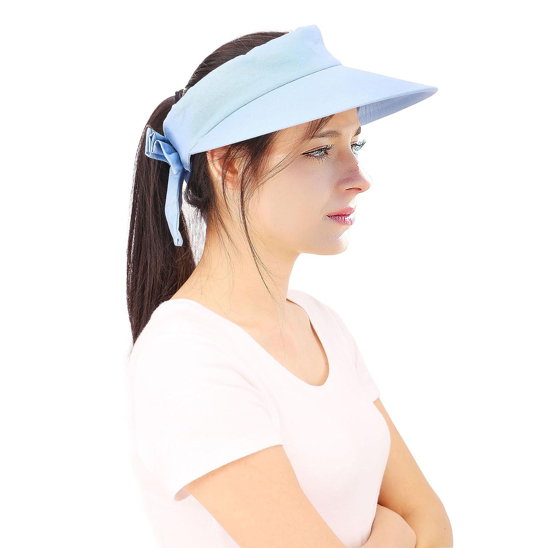 Amazon.com   YoungLove Women s Wide Brim SPF 50+ UV Protection Sun Visor  Hat efcf2d2a310