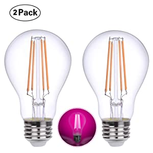 HOLA Plant Growing Lights Lamp, 6W LED Filament Bulb with Red Blue Spectrum for Indoor Plants, Hydroponic, Greenhouse, Vegetables, Fruits, Flower, 2 Pack (E26, Pink Light, Non-dimmable)