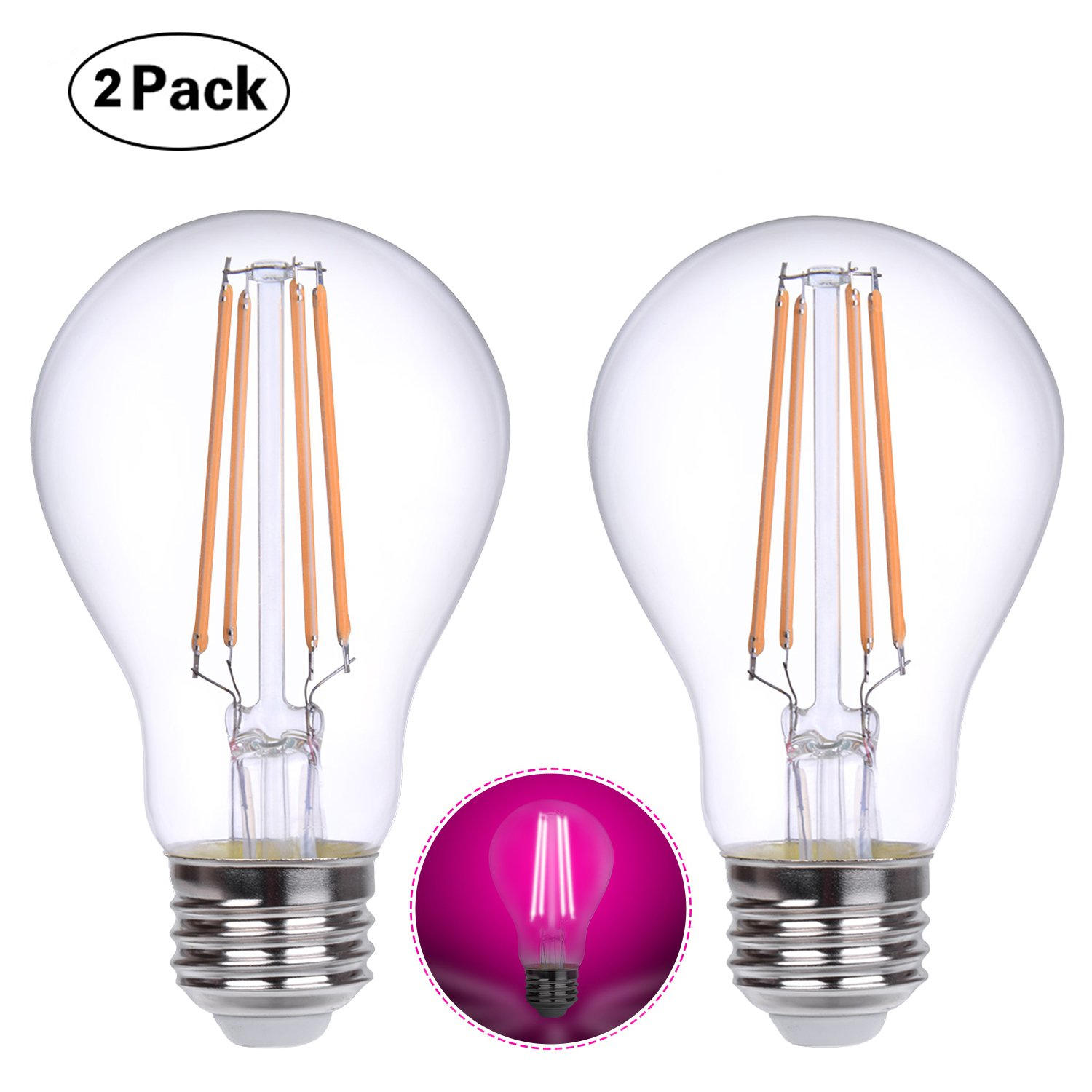 HOLA Plant Light Bulbs, Plant Grow Lights with 360 Degree for Indoor Plants Vegetables Greenhouse and Hydroponic, 6-Watt (60-Watt Equivalent), E26 Base, White Light, 2 Pack