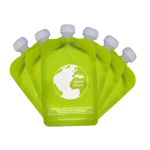 Reusable baby Food Pouch 6 x 150ml Eazy Squeezy BPA & PVC free No Leak Squeeze Bag Design - Easy Fill & Clean - for Weaning, Travel, Pureed Fruit, Organic & Homemade Baby Food, Toddlers & Kids
