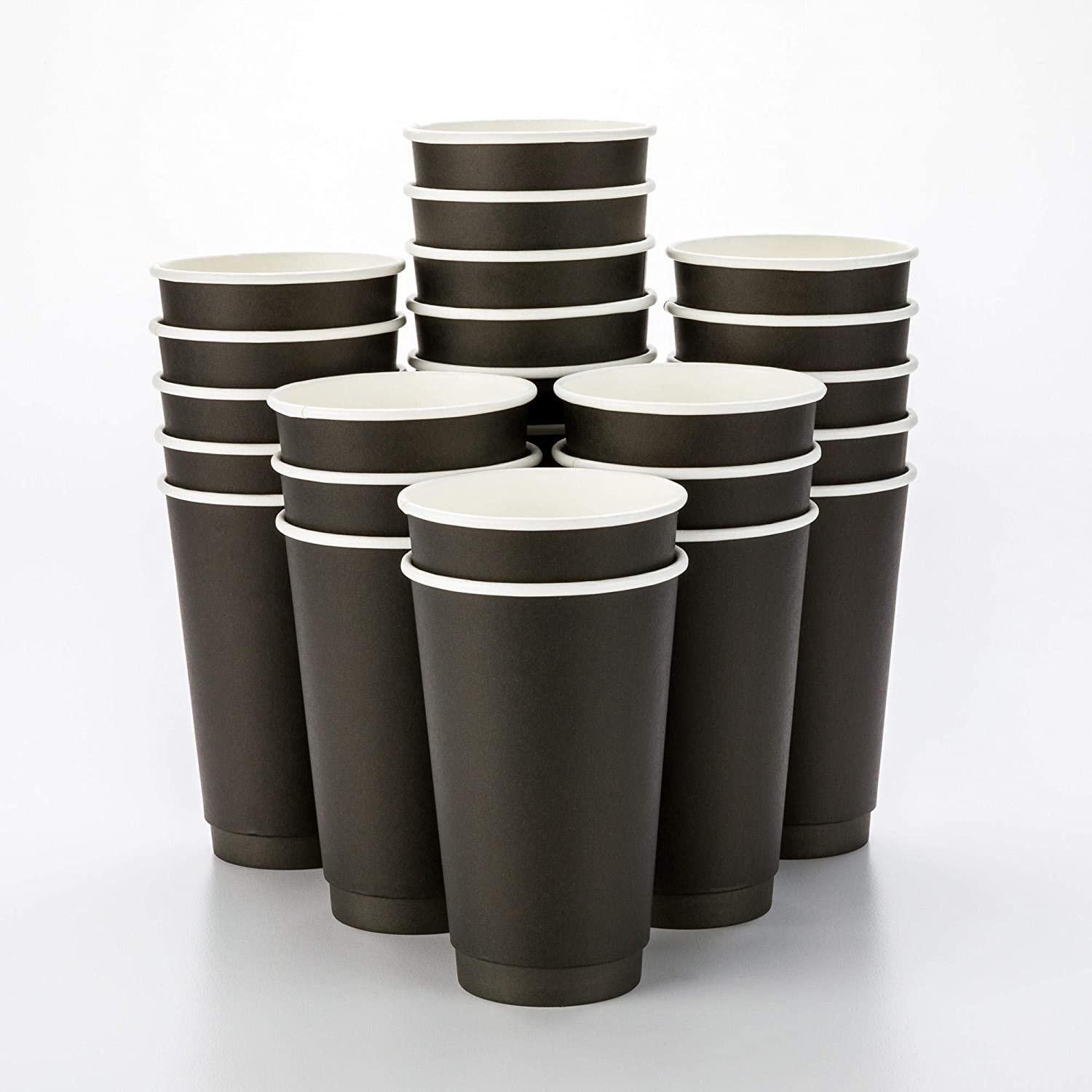 500-CT Disposable Black 16-oz Hot Beverage Cups with Double Wall Design: No Need for Sleeves - Perfect for Cafes - Eco Friendly Recyclable Paper - Insulated - Wholesale Takeout Coffee Cup