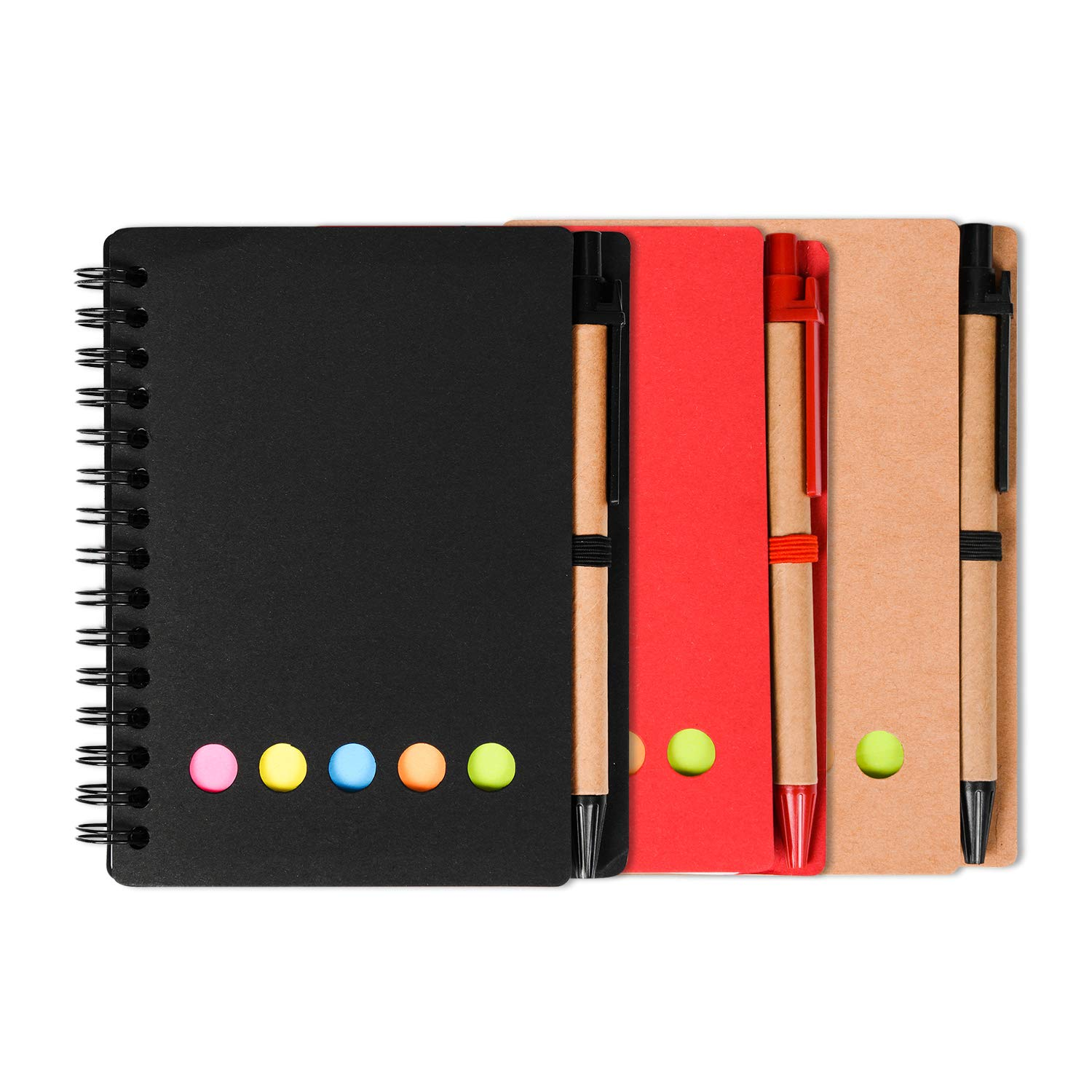 3 Packs 4.5''x5.5'' Spiral Notebook college ruled Pocket notebook Spiral Lined Notepad Set with Pen Loop and Sticky Notes, Page Marker Colored Index Tabs Flags (Black red and Brown Cover)