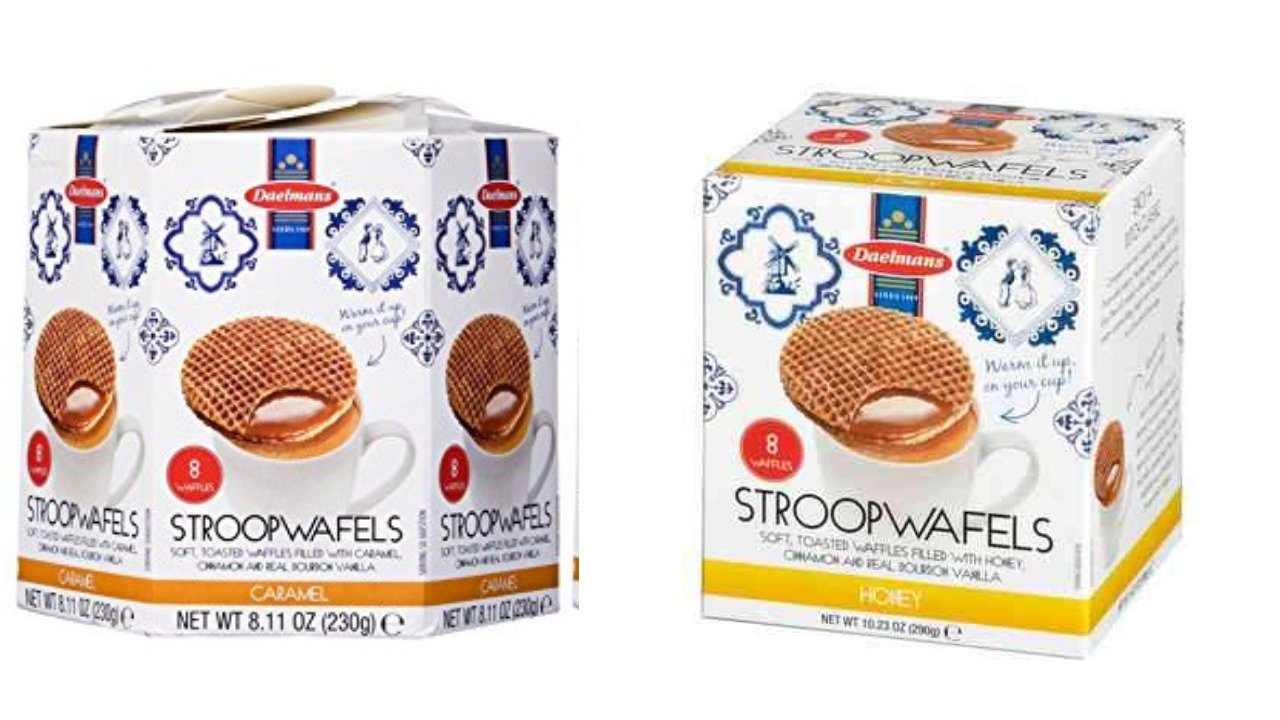 Daelmans Stroopwafels Caramel Hex 8.11 oz & Honey Cube 10.94 oz (Hex & Cube 1 Of Each)