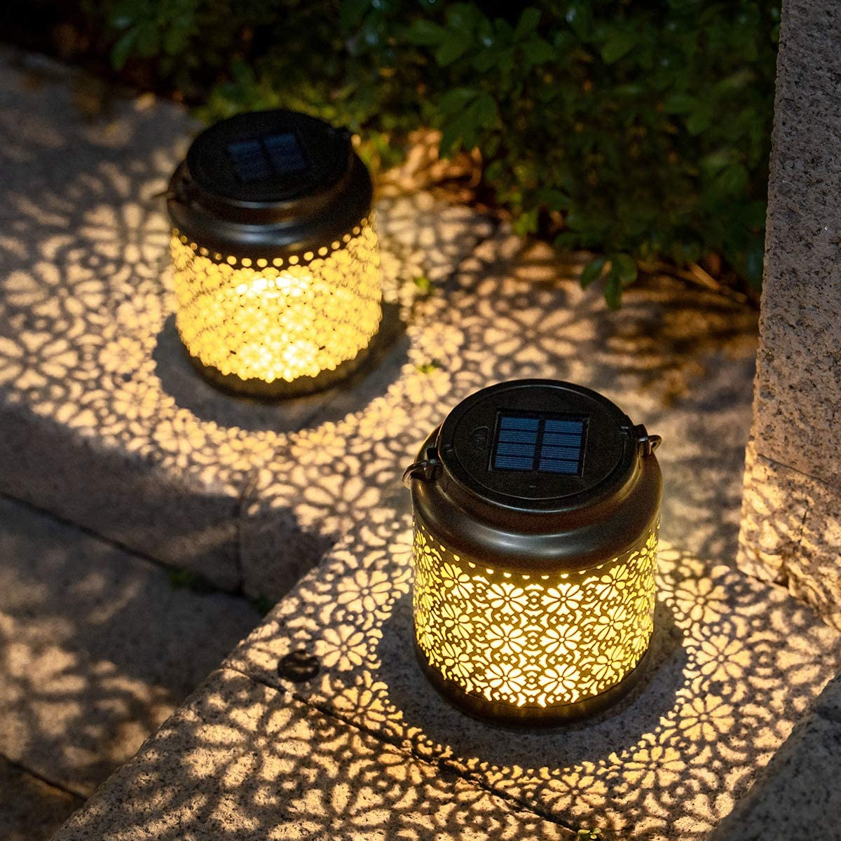 Solar Metal Lantern Outdoor Garden Decorative Hanging LED Lights Waterproof Landscape Lighting 2 Pack