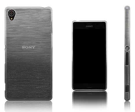 Xcessor Transition - Carcasa Flexible de TPU para Sony Xperia Z3, con Textura de Hilo de Seda Degradado, Color Transparente y Dorado
