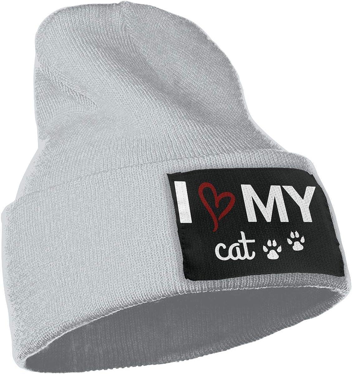 I Love My Cat Warm Winter Hat Knit Beanie Skull Cap Cuff Beanie Hat Winter Hats for Men /& Women