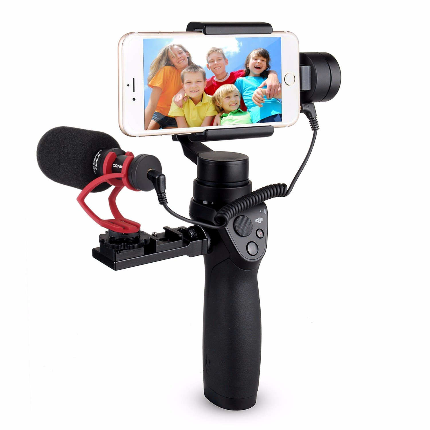 EACHSHOT Comica CVM-VM10 II Cardioid Directional Shotgun Video Microphone for DJI OSMO Mobile Plus Smartphone GoPro and Micro Camera with Black Shock-Mount Windscreen With Universal Mount (Red)