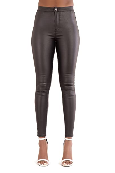 510b6d938f38 LustyChic Womens Ladies Leather Look Jean Stretchy Fit Trousers Size UK 6 8  10 12 14 (UK M (10)