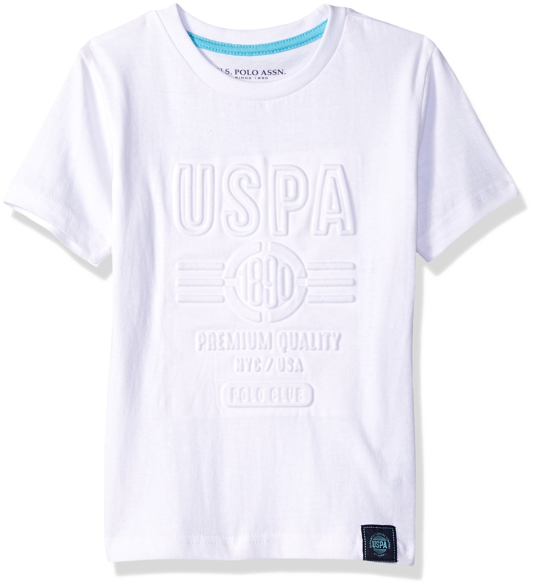 U.S. Polo Assn. Boys' Little Short Sleeve Striped Crew Neck T-Shirt, Lightly Embossed White 5/6