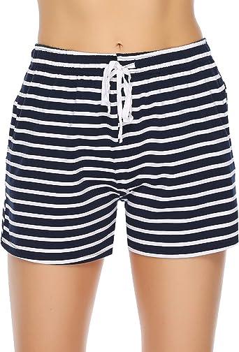 Aibrou Pantalones de Pijama Mujer Cortos Verano Algodón, Pijama Casual para Dormir Caminar Deportes Cómodo y Suave S-XXL: Amazon.es: Ropa y accesorios