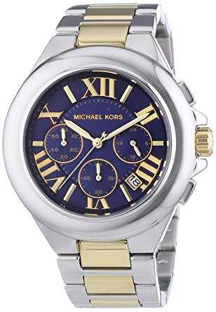 a234742a6989 Image Unavailable. Image not available for. Color  Michael Kors Women s  Camille Two Tone Bracelet Blue Dial ...