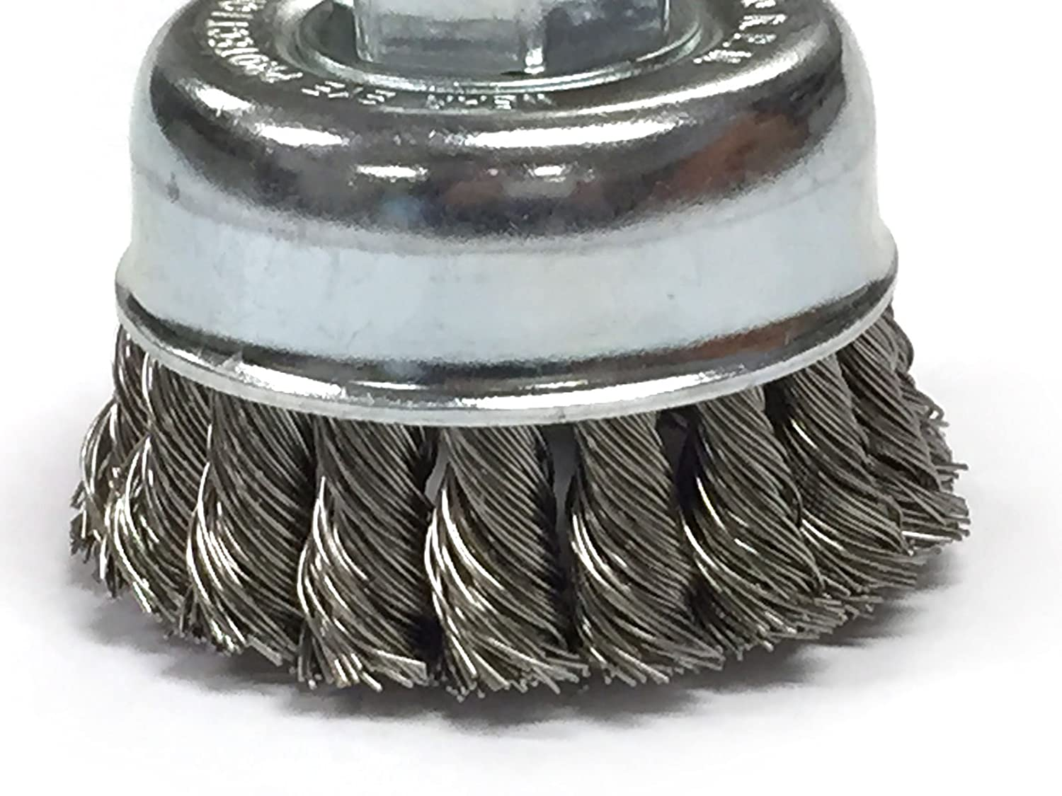2-3/4' Knotted Cup Brush With 5/8-11 Inch Arbor - Stainless Steel Wire