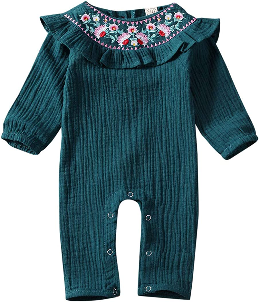 Baby Girl Jumpsuit Vintage Boho Fall Clothes Flower Long Sleeve Embroidery Ruffle Romper Flutter Sleeve Outfit