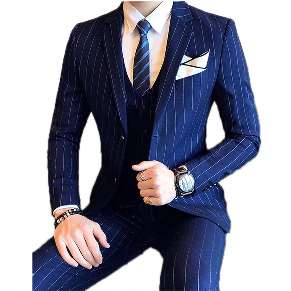 Ryanth Mens Slim Fit Suits Dark Blue Pinstripe Two Button 3-Piece Suit Man Dress