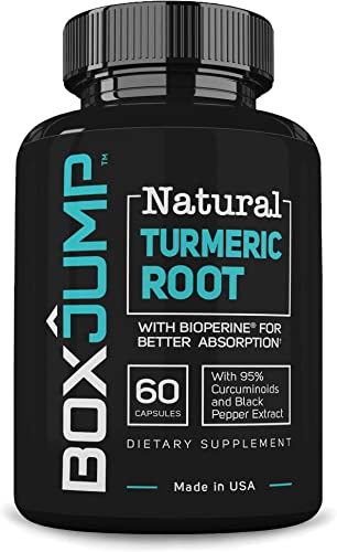 BoxJump Natural Turmeric Root with BioPerine and 95 Standardized Curcuminoids 30-Day Supply, 60 Count