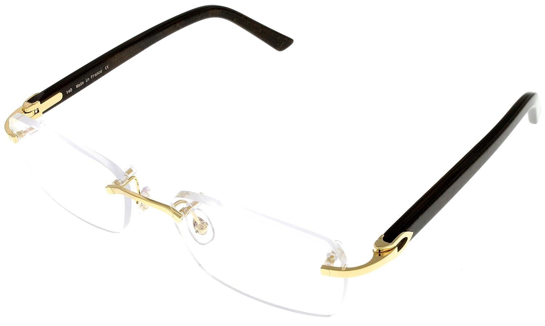 e0a3b8b7d4 Cartier C DECOR Prescription Eyeglasses Frame Brown Rimless Womens  T8100928  Amazon.ca  Clothing   Accessories