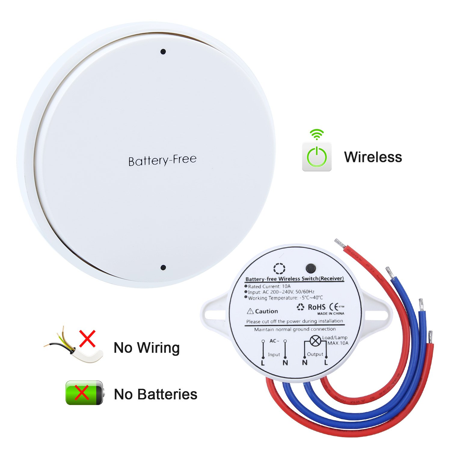 wireless switch remote control light switch and receiver no battery no wiring  on off switch wiring diagram battery powered #12