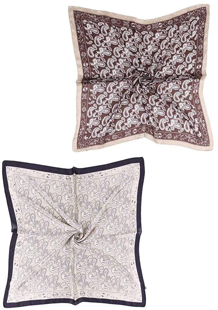 FYLuoke 27.5 Inch Silk Square Head Scarf Satin Hair Bandanas for Women 2 Packs (T-01)