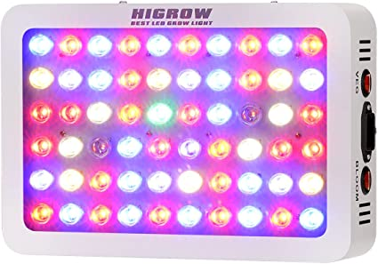 HIGROW 1500W Double Chips LED Grow Light Full Spectrum Grow Lamp with Rope Hanger for Indoor Greenhouse Hydroponic Plants Veg and Flower 10W // LED