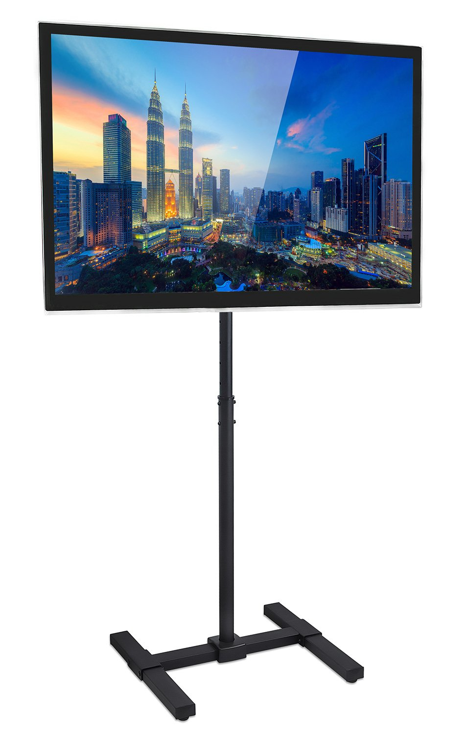 Portable TV Stand Floor Standing - Fits 27 30 32 35 37 40 and 42'' Televisions, Height Adjustable Telescoping Pole For Indoor and Outdoor Use, VESA 100 and 200, 44 Lbs