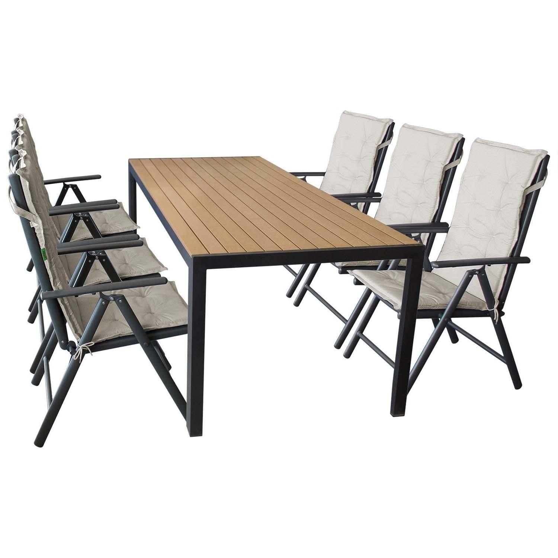 Sitzgarnitur Gartentisch, Polywood Tischplatte, 205x90cm + 6x Hochlehner,  Textilenbespannung, 7