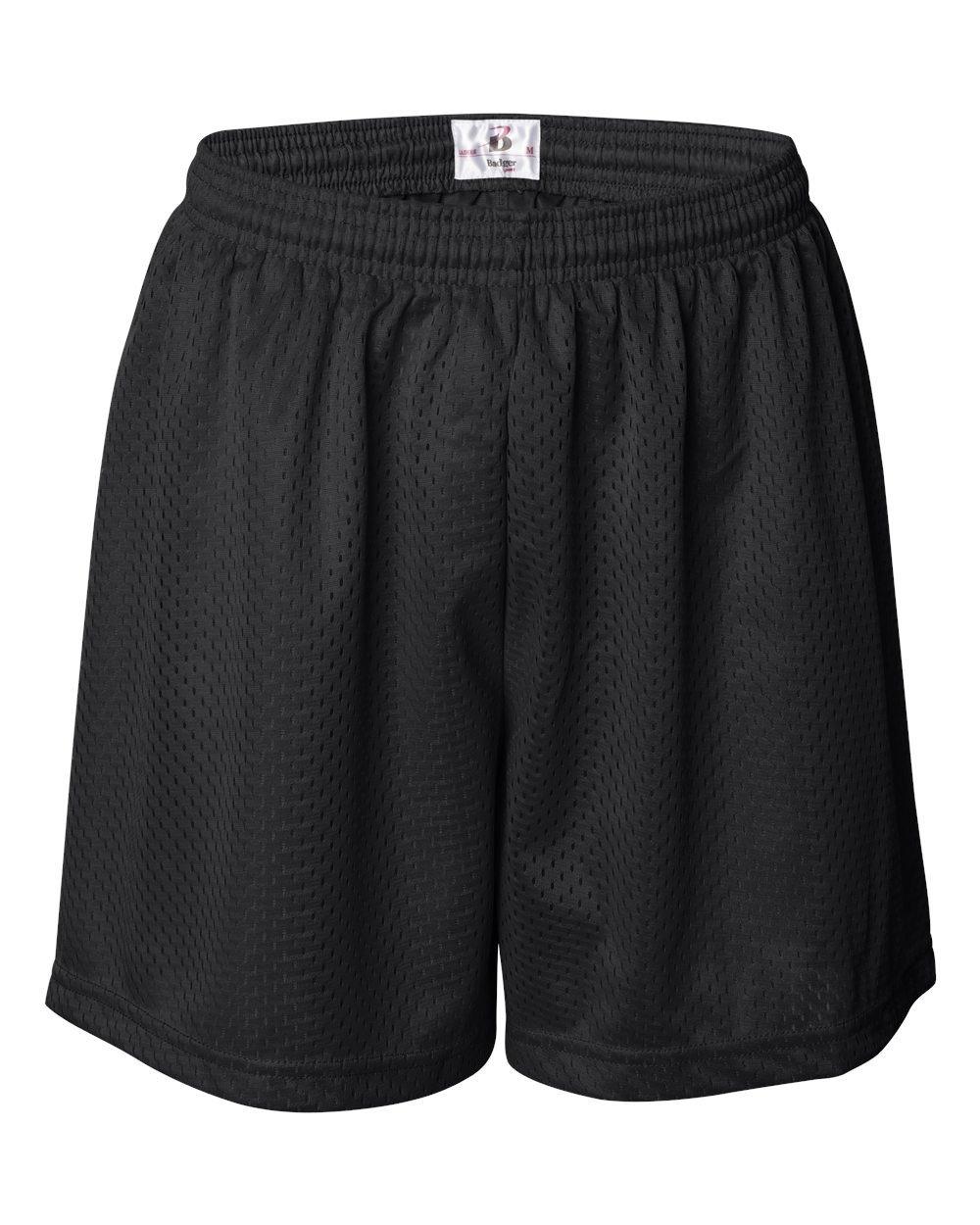 Badger Ladies' Mesh/Tricot 5'' Shorts, Blk, XX-Large