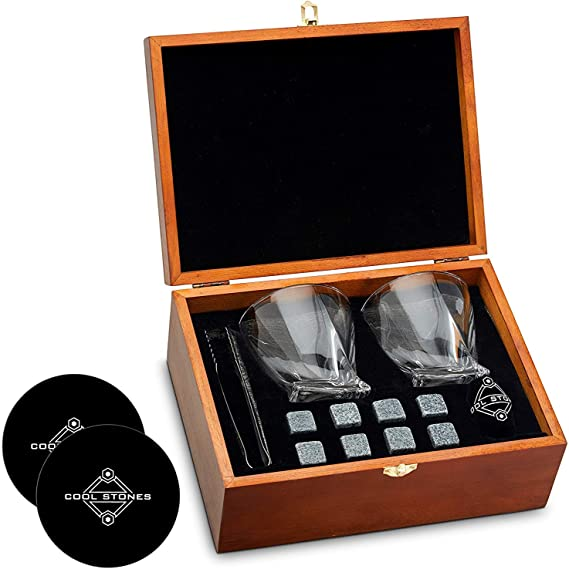 Whiskey Stones and Whiskey Glass Gift Boxed Set - 8 Granite Chilling Whisky Rocks + 2 Glasses in Wooden Box - Great Gift for Father's Day