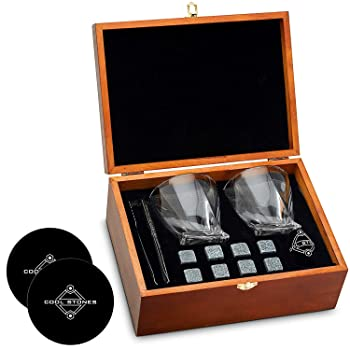 Cool Stones Gift Boxed Set Of Whiskey Glasses