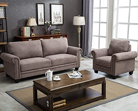Prime Harperbright Designs 2 Pieces Sectional Sofa Couches Living Room Sofa Sets Collection Taupe With Curled Handrails And Nail Head Trim Upholstered Andrewgaddart Wooden Chair Designs For Living Room Andrewgaddartcom
