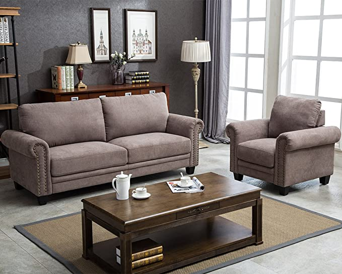 Harper&Bright Designs Sectional Sofa Couches Living Room Sofa Set Collection Taupe With Curled Handrails And Nail Head Trim Upholstered Couch (1 Seat+Loveseat, Brown) by Harper & Bright Designs