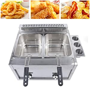 Commercial Countertop Deep Gas Fryer Stainless Steel Outdoor Cooker 6L Basket ×2 Chicken Chips Fryer For French Fries Home Kitchen Restaurant