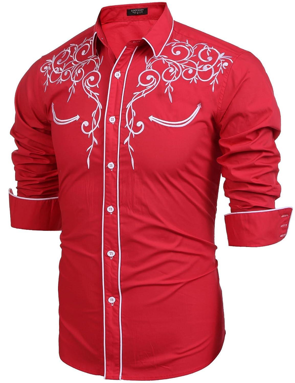 Modefine Men's Casual Fashion Long Sleeve Embroidery Slim Fit Dress Shirt Button Downl Shirt