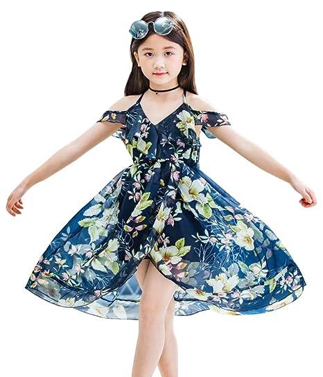c1891341a46c Amazon.com: LOTUCY Girls Spaghetti Strap Cold Shoulder Hawaiian Floral  Print Maxi Beach Dress: Clothing