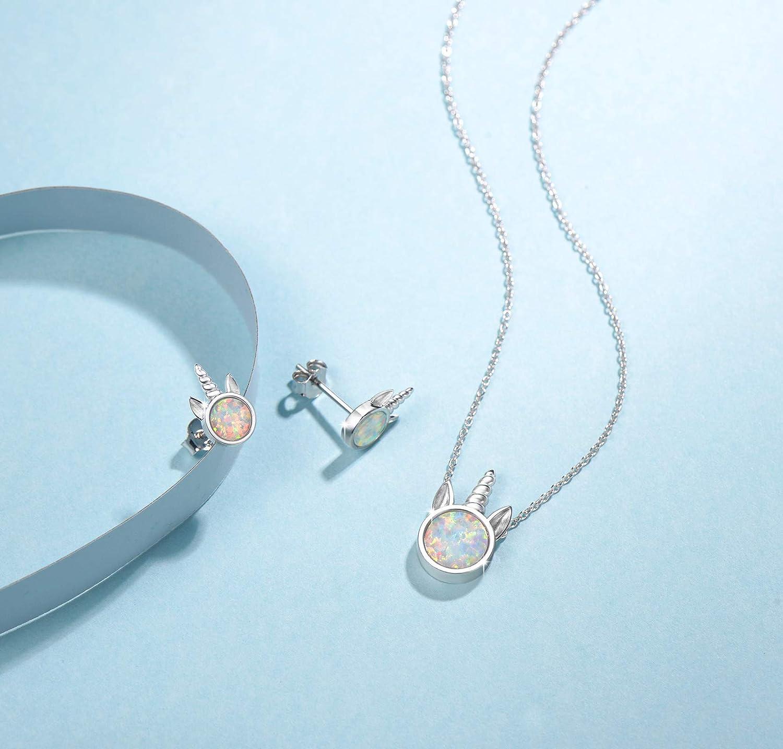 Licorne Pendentif Collier//Clous Boucles dOreilles Bijoux en Argent 925//1000 avec Opale Synth/étique pour Femmes Filles