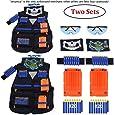 2 Sets Kids Tactical Vest Kit, Kids Elite Tactical Vest Kit For Nerf N-strike Elite Series,2 Pack Jacket with 2 Wrist Bands, 2 Quick Reload Clips, 2 Protective Glasses 40 Bullets and 2 Face Tube Mask