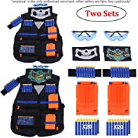 2 Sets Kids Tactical Vest Kit, Kids Elite Tactical Vest Kit For Nerf N-strike Elite Series,2 Pack Jacket with 2 Wrist…