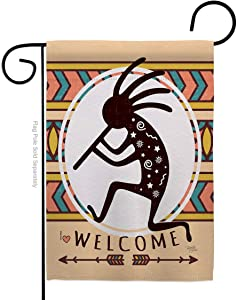 Southwest Welcome Kokopelli Dance Garden Flag Regional Desert Cactus Country Succulent Particular Area Small Decorative Gift Yard House Banner Made in USA 13 X 18.5
