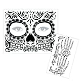 Day of the Dead Tattoo Set - Temporary Tattoo for Face and Hands (Unisex) - [Made in USA]