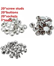 """YMAISS 48pcs Fastener Screw Snaps kit Marine Grade 3//8/""""Socket with 304 Stainless Steel 5//11/""""Screw with 2pcs Setting Tools in Upholstery Snaps for Boat Canvas,Cover."""