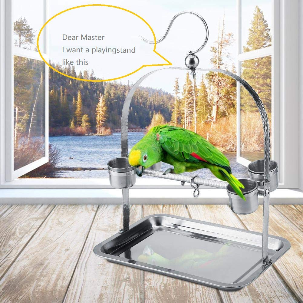Borangs Parrots Playstand Bird Playground Stainless Steel Bird Perch Stand Bird Swing Exercise Playgym with Feeder Cups for Electus Cockatoo Parakeet Conure Cockatiel Cage Accessories Exercise Toy by Borangs