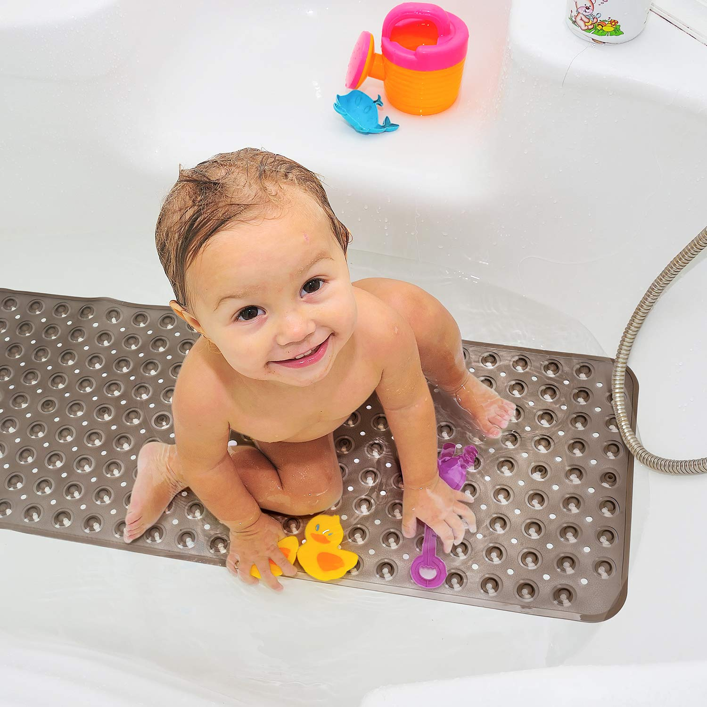 Latex Free Bathtub Mats with Drain Holes Bath Shower Mat Non Slip for Bathroom Suction Cups 40x16 Black Phthalate Free Machine Washable Pretigo Bathtub Mat