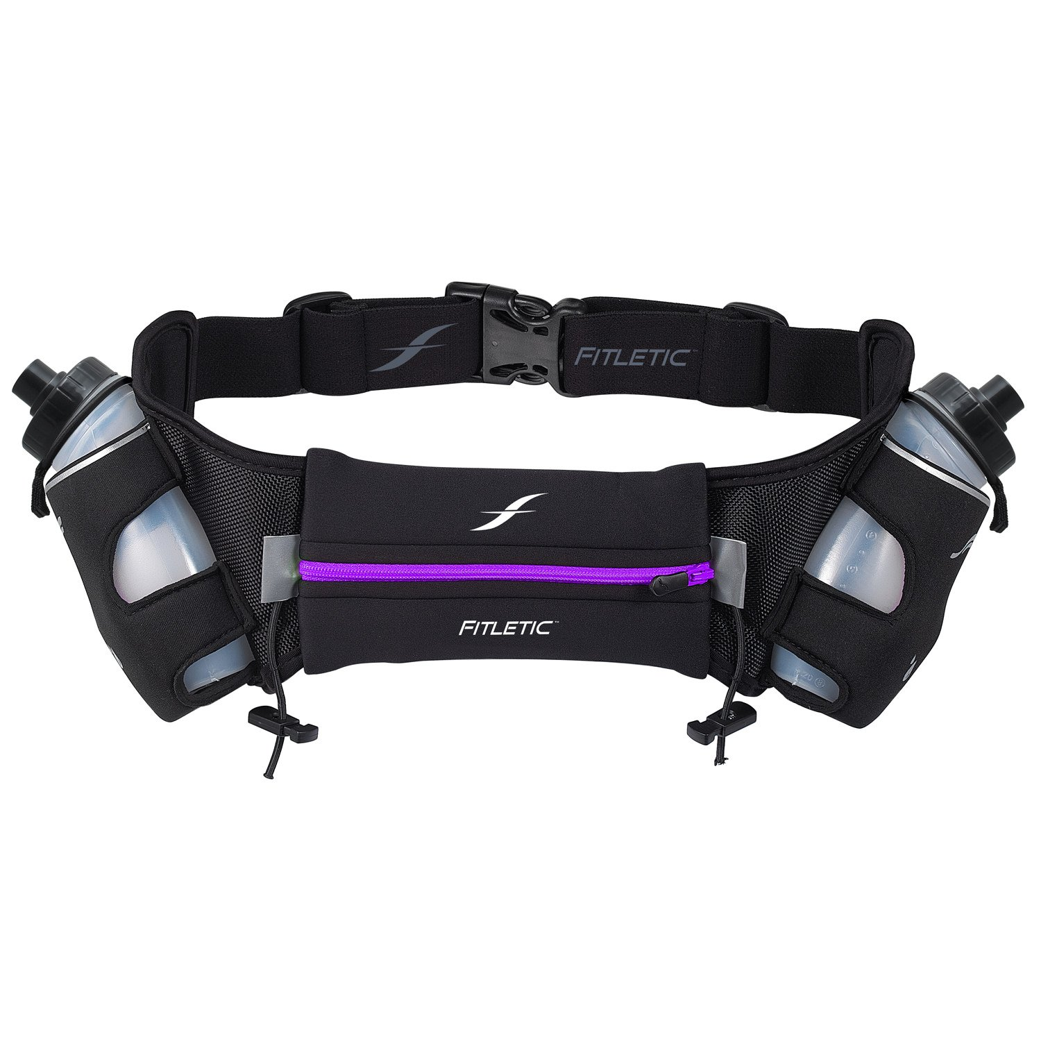 Fitletic  12 Oz Hydration Belt, Black/Purple, Large/X-Large