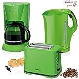 Set Frühstück, Kaffeemaschine 14Tassen, Brot 2Scheiben-Toaster, Wasserkocher 1,7Liter, grün Colour Up Stil