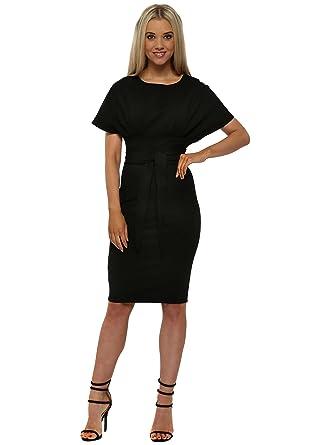 Goddess London Black Kimono Sleeve Tie Waist Midi Dress Uk 16 Black