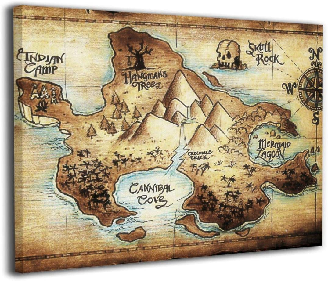 LP ART Canvas Print Wall Art Peter Pan Map of Neverland Picture Painting for Kids Baby Bedroom Modern Home Decor Ready to Hang Stretched and Framed Artwork 16''x20''