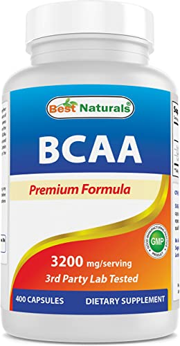 Best Naturals BCAA Branch Chain Amino Acid, 3200mg per Serving, 400 Capsules – Pharmaceutical Grade – 100 Pure Instantized Formula Pre Post Workout Bodybuilding Supplement Boost Muscle Growth