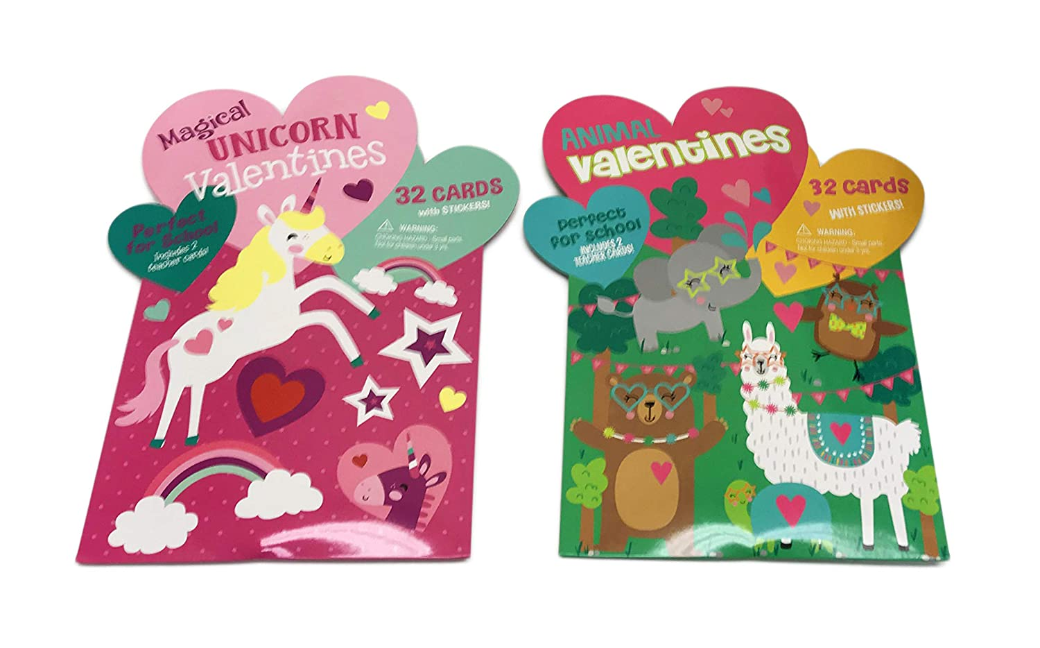Magical Unicorns /& Animals Happy Valentines Day Set of 64 Valentine Cards /& Stickers Perfect For School Exchange IG Design Group